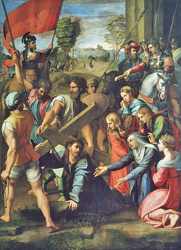 Raphael - Christ Falls on the Way to Calvary and meets his mother Mary - the Third and Fourth Stations of the Way of the Cross, Museo del Prado, Madrid, 1515.