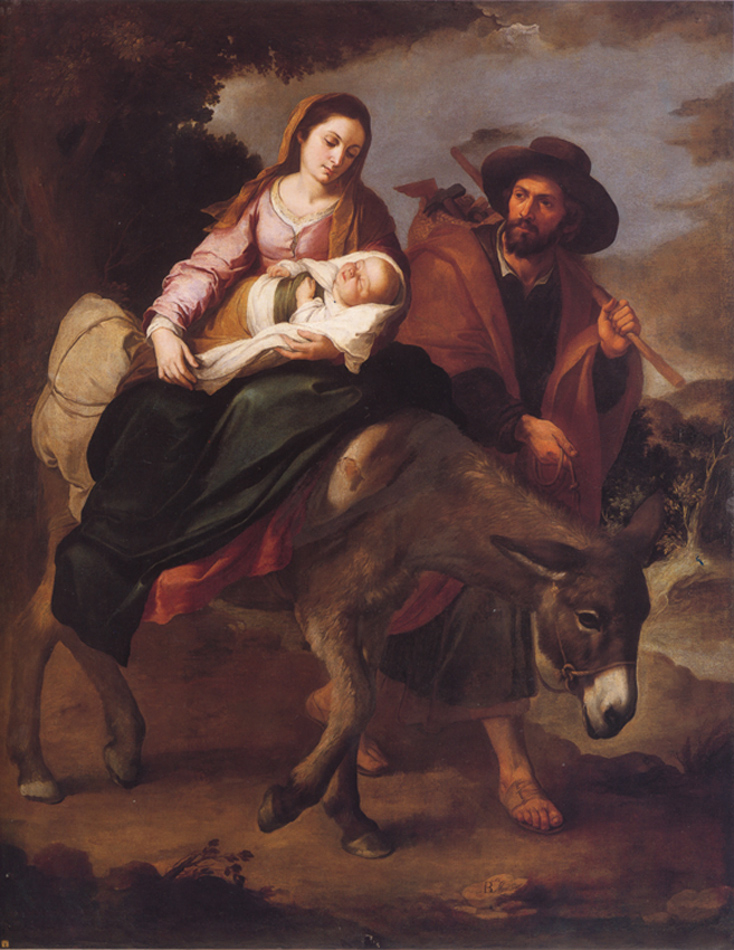 Bartolomé Esteban Murillo of Seville, Spain - The Holy Family on the Flight to Egypt (Matthew 2:13-21), Palazzo Bianco, Genoa, Italy, 1645.