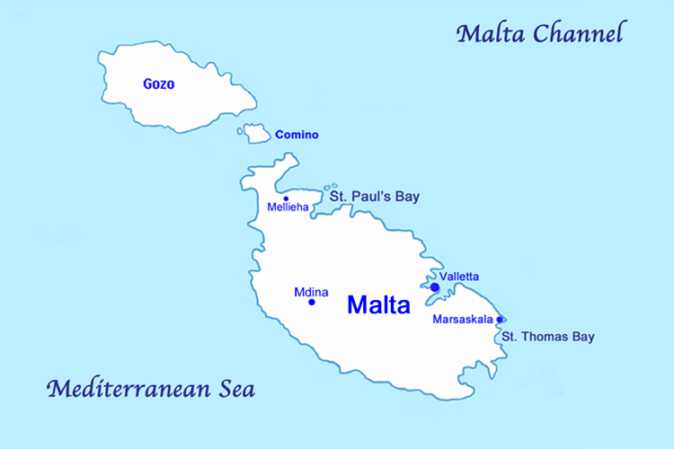 Map of the Island of Malta, the Mediterranean Sea.